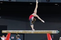 person on a gymnastics beam