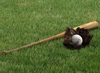 picture of a baseball in a mitt and a bat laying on grass
